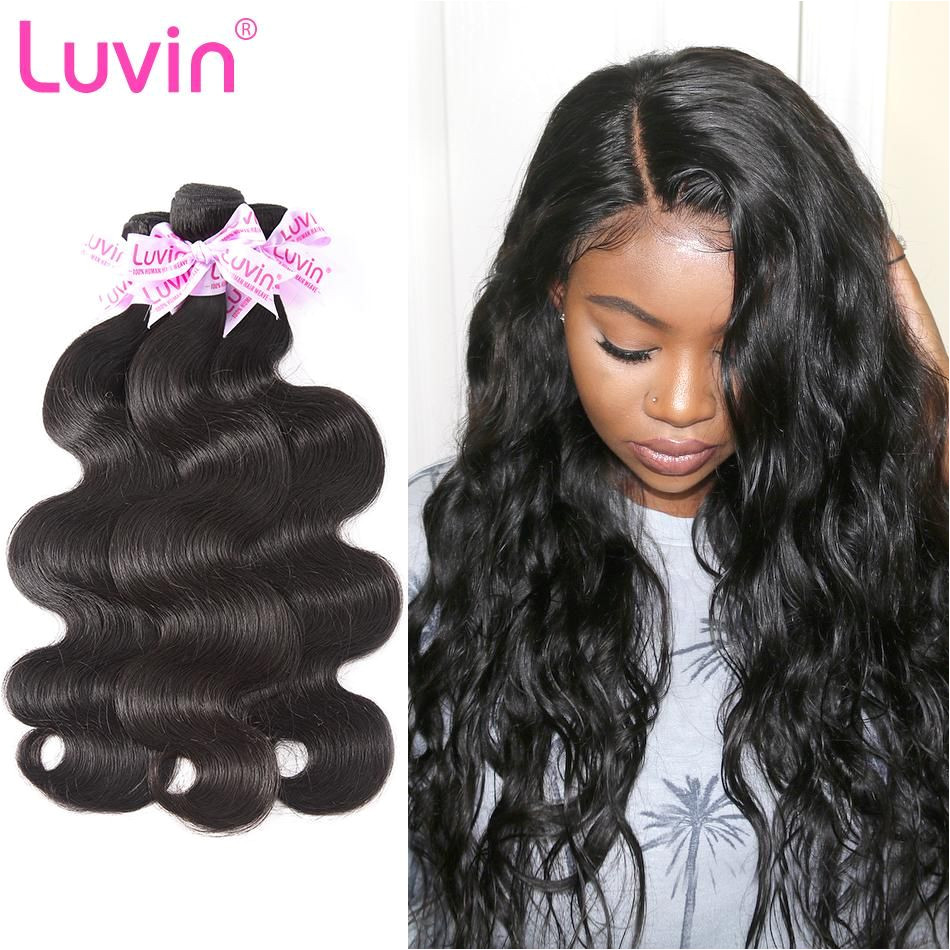 Luvin Brazilian Hair Weave Bundles Remy Hair 3 Bundles Lots Body Wave Human Hair Extensions 30 Inch Bundles Natural Color
