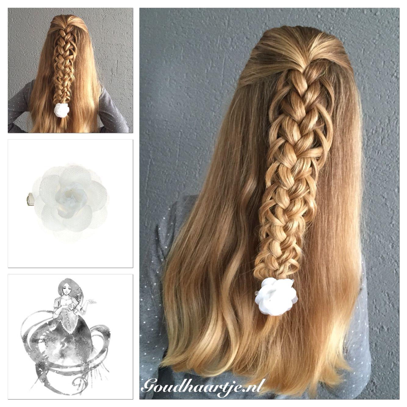 Half up loop braid with a pretty hair flower from Goudhaartje halfup…