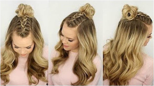 Half Up and Half Down Hairstyles for Prom Mohawk Braid Top Knot