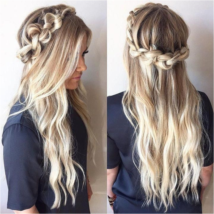 Knotted crown braid half up half down hairstyle promhair weddinghair bridesmaidhair