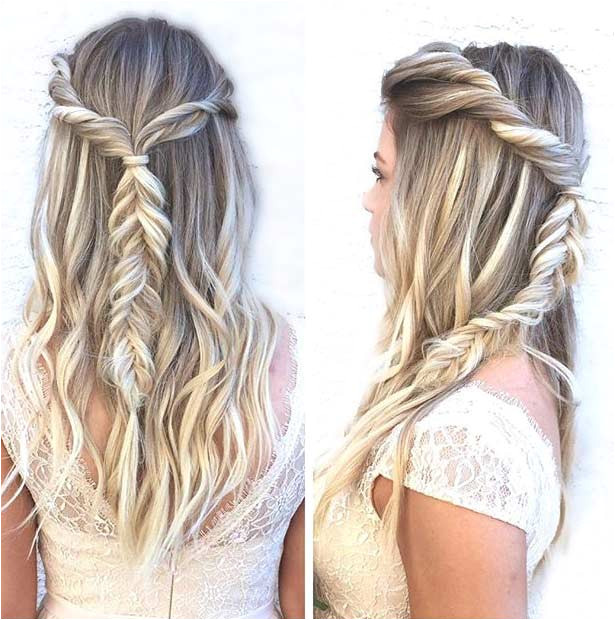 Simple Fishtail Braid Half Updo for Prom