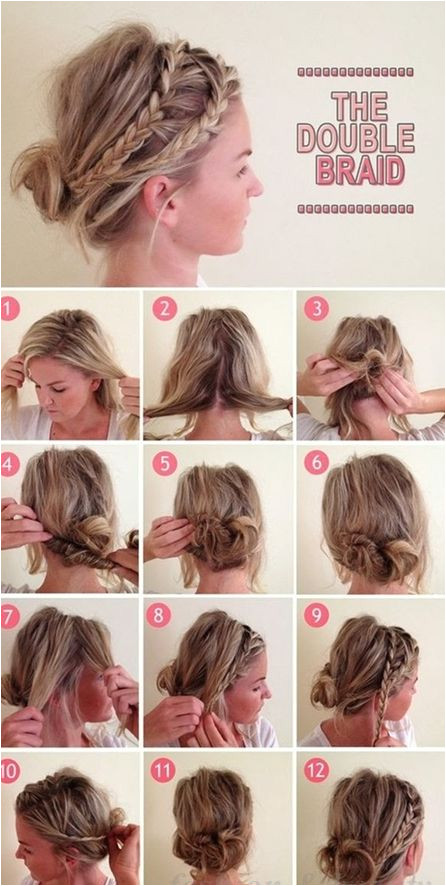 pull out two pieces at top side create back messy bun wrap braid two sections hide tails into bun