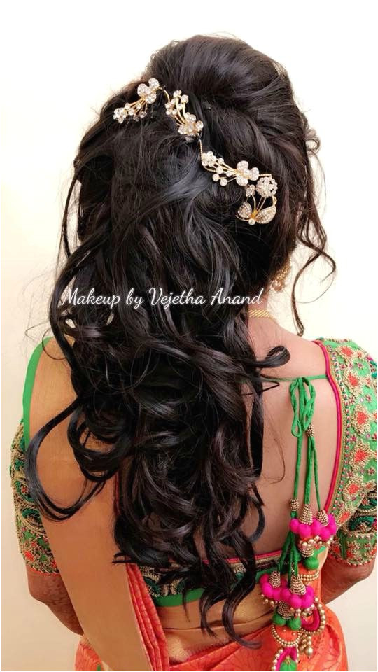 Romantic bridal updo by Vejetha for Swank Bridal hairstyle Curls Hair accessory Bridal silk saree Saree blouse design South Indian bride Bridal updo