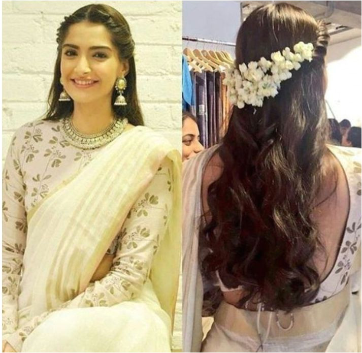 Half Updo Hairstyles for Saree Side Parted Hairstyle with Gajra