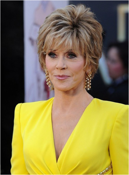 Jane Fonda layered hairstyle