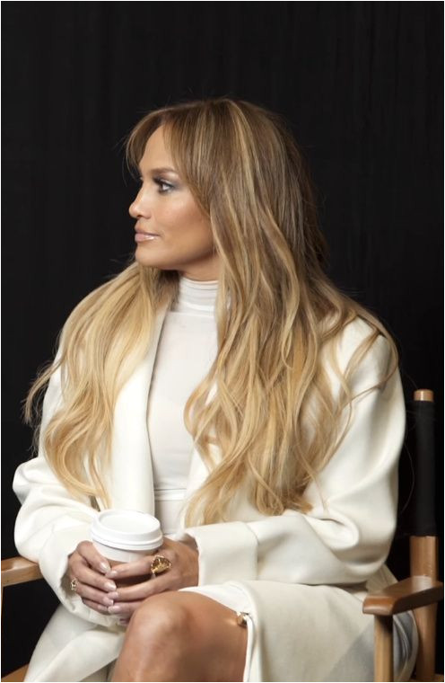 Jennifer Lopez long hair and blonde ombre hair color JLO