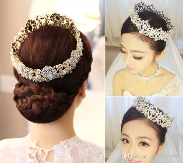 Wedding Flower Girl Hairstyles New Round Crown Bridal Jewelry Wedding Dress Accessories Princess