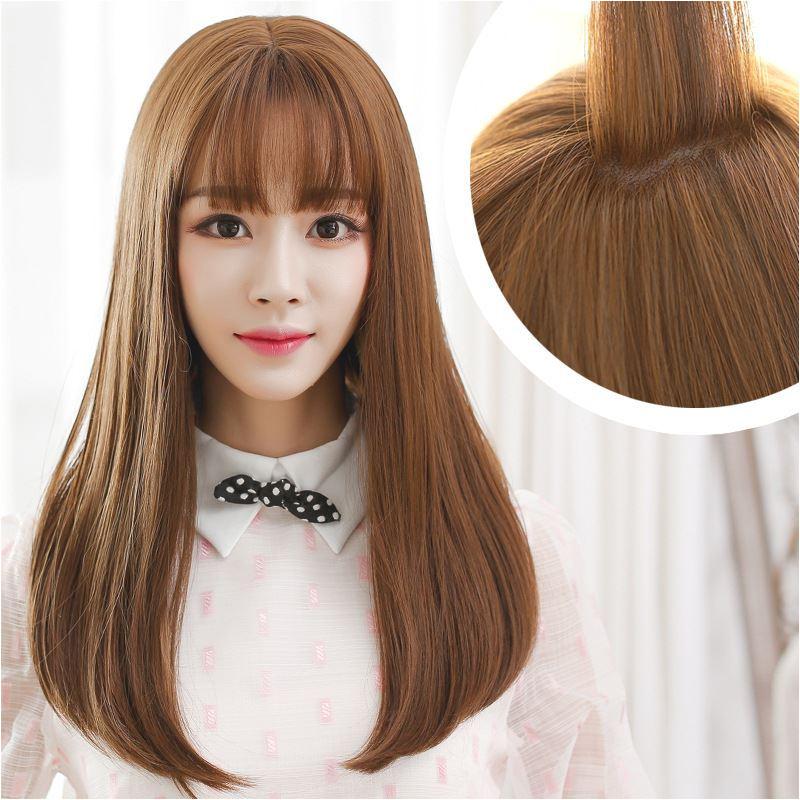 Korean Air Bangs Wig Female Long Hair Pear Head Volume Within Thin Bangs Hair Lifelike Big Scalp Silk Top Full Lace Wigs Lace Front Human Hair Wigs From