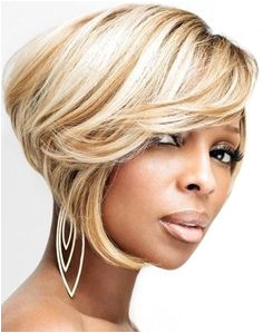 Mary J Blige Blonde inverted bob haircut with side swept bangs and caramel lowlights hairstyle