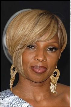 This is a classy look as Mary J Blige has gone with a hairstyle Her hair is short and styled to different lengths around at the sides