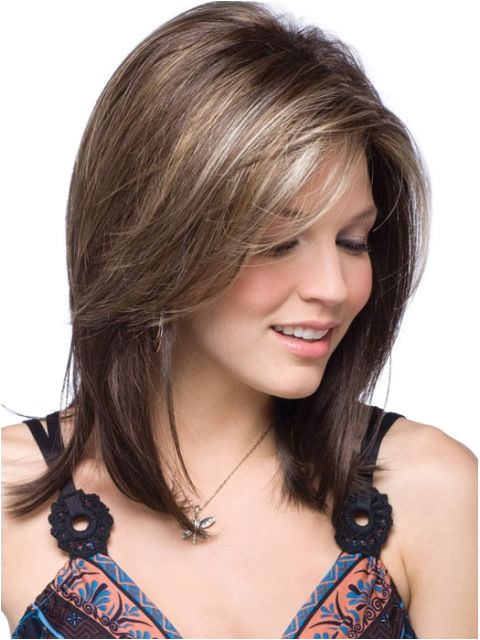 Medium length layers with side sweep bangs