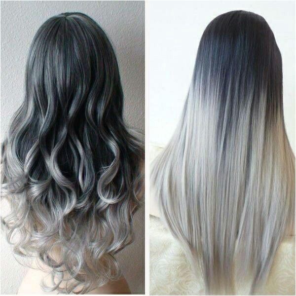 Dark grey to silver hair Gray hair Dip dyed hair Curly hair Straight hair