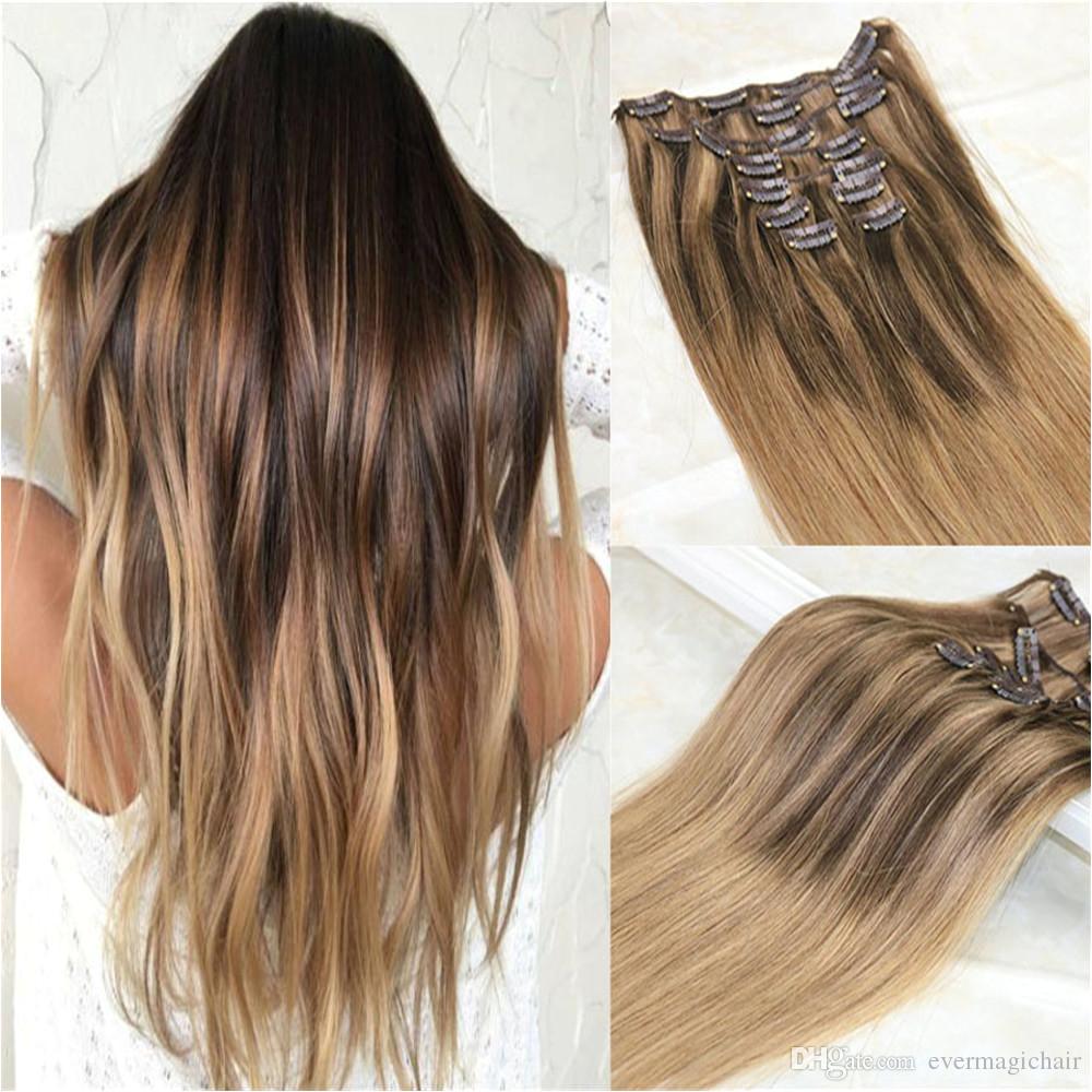 Großhandel Balayage Clip In Haarverlängerungen 4 Dunkelbraun Gemischt 27 Honig Blonde Und Farbe 10 Golden Brown Ombre Brasilianische