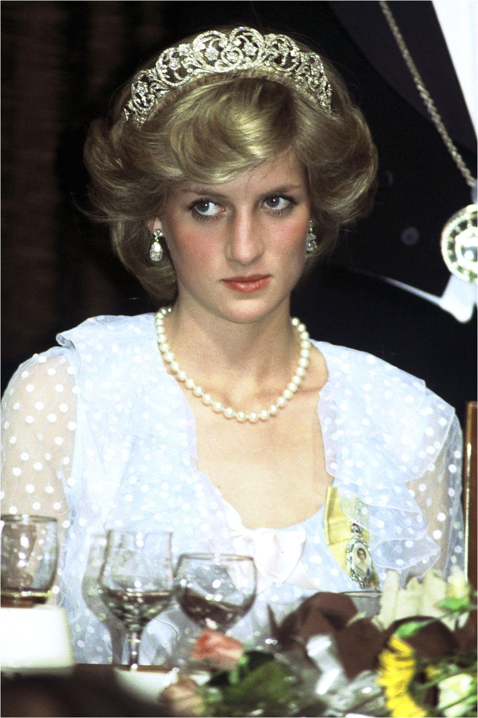 1993 With a more blown out hairstyle and a diamond tiara at an event while visiting New Zealand