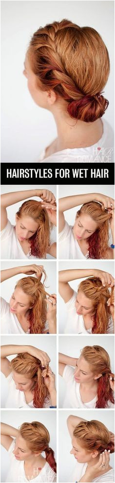 21 Hairstyles You Can Do In Less Than Five Minutes Wet Hair HairstylesEasy