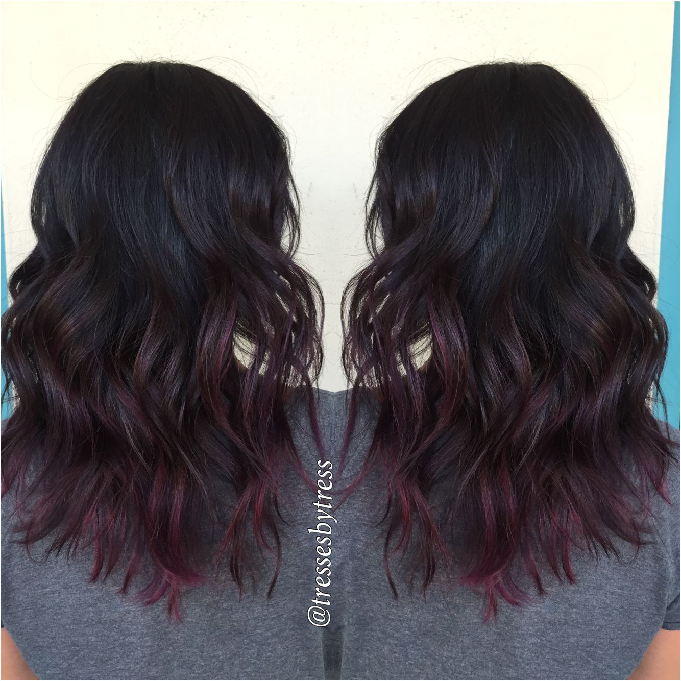 Black cherry red ombre balayage