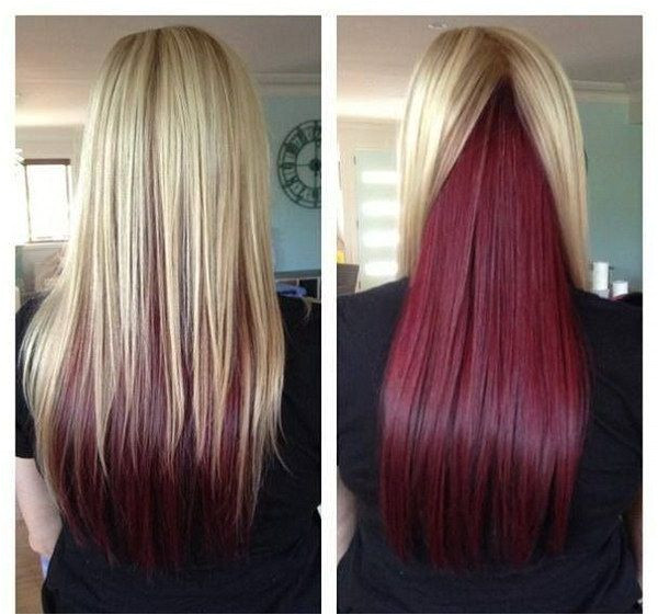 Long Straight Hair with Blonde on Top and Red Underneath