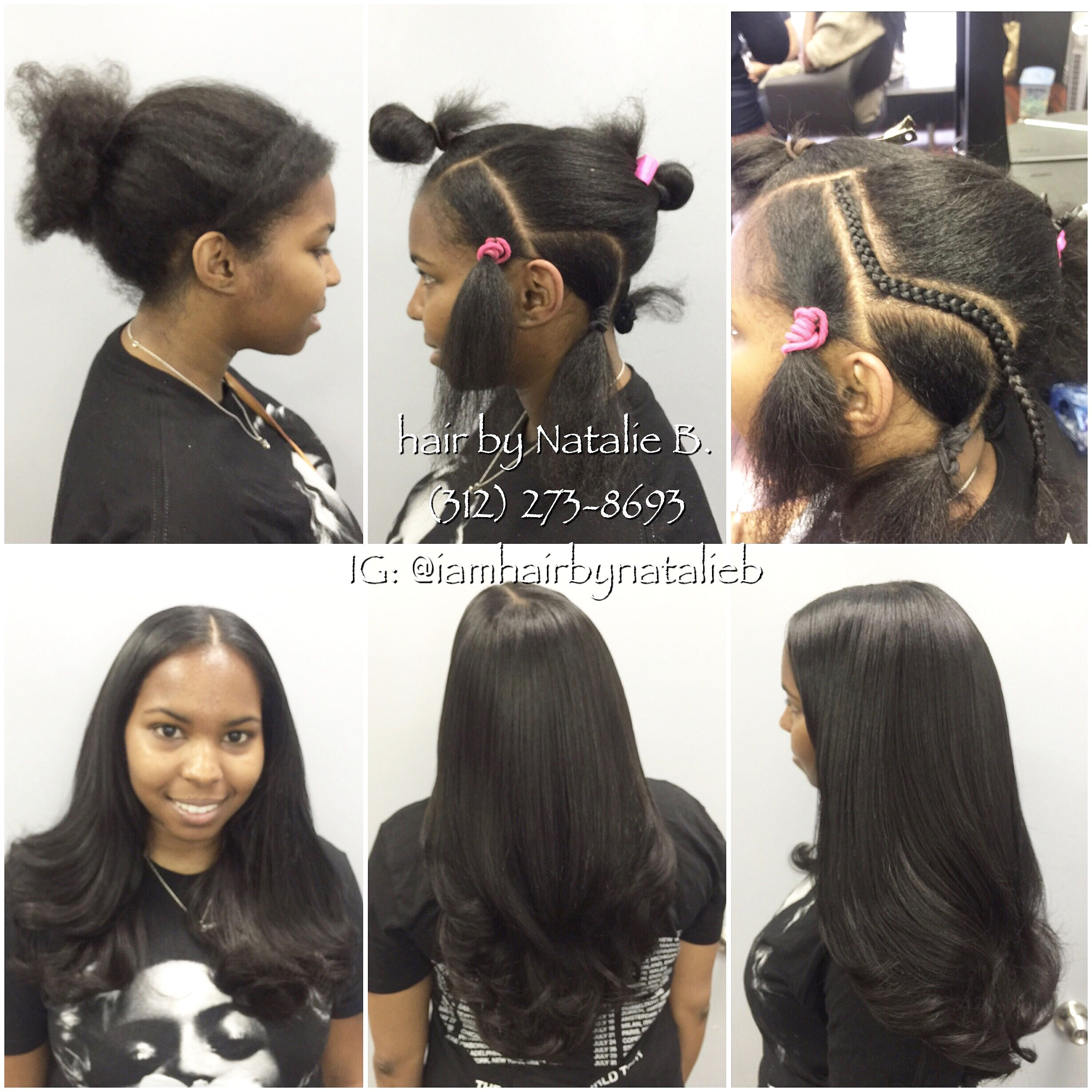 Natural Looking Sew In Hair Weave by Natalie B Call or text me at 312 273 8693 to schedule your appointment • • • Flat Secure Foundation‼