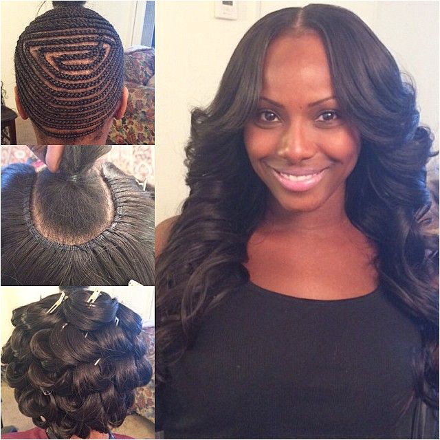 """""""Middle part with my signature pin curls hairbyme"""" Sew In Braid Pattern"""