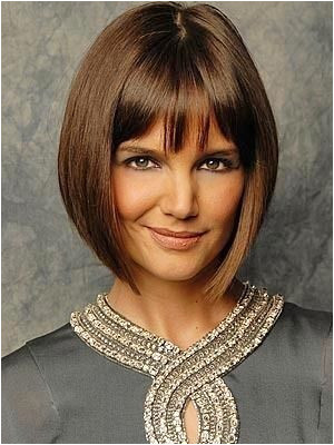 Katie Holmes Short Bob Hairstyle but w side swipe bangs