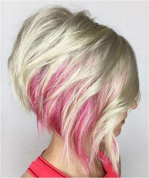 Red Peekaboo Platinum Blonde Short A Line Hairstyles 2019 for Women