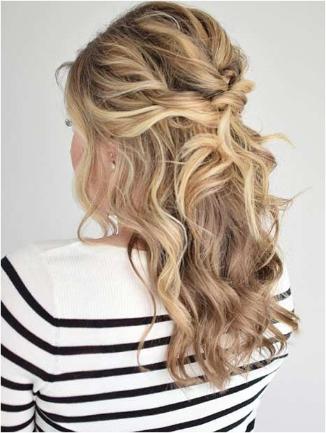 Curly and Messy Overlapping Half Updo Prom Hairstyles Half Up Half Down Prom Hairstyles For