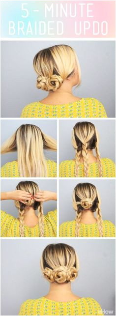 This adorable updo takes only 5 minutes Cute for a work or out with the girls brunch look plete This fuss free hairstyle works for those times when