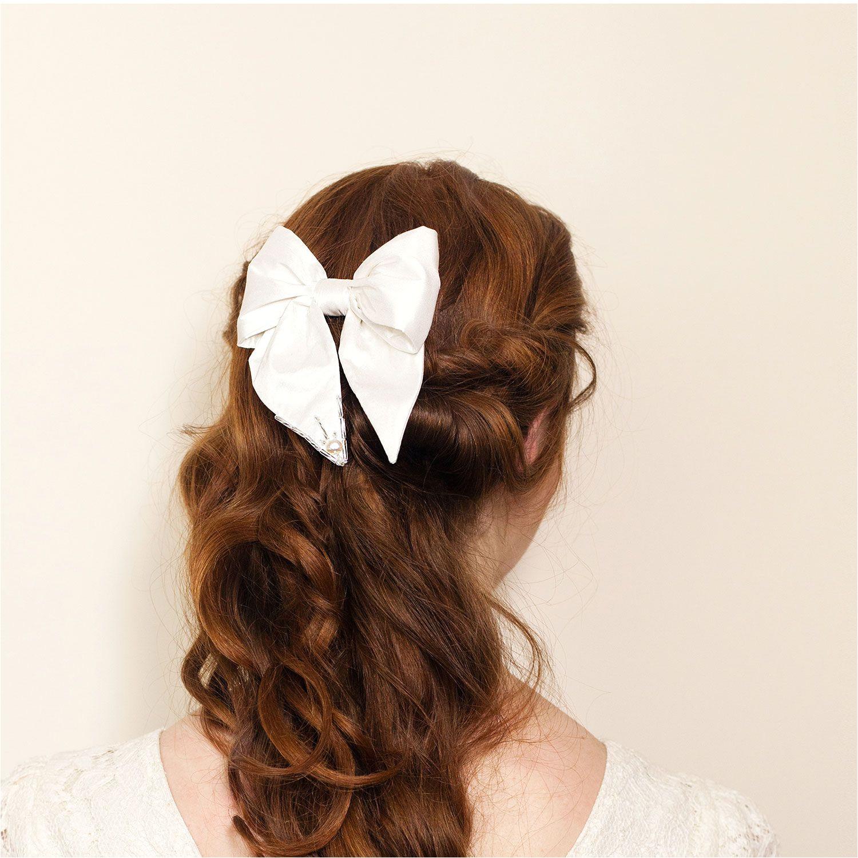 Simple cute bridal hair bow clip with sparkle detail by Blackbird s Pearl London