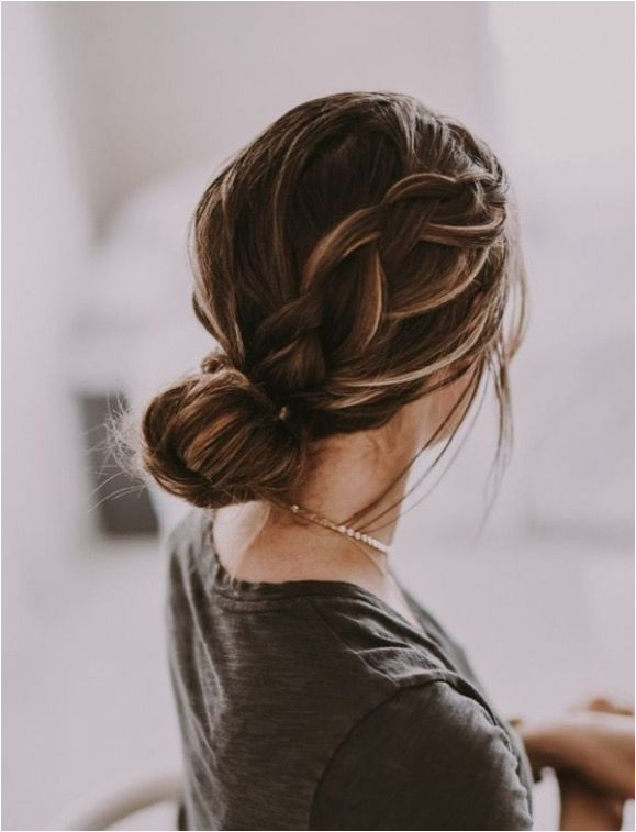 french braid twisted bun up do hairstyle tutorial simple beautiful elegant