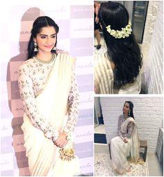 Sonam at anavila misra store Swara give Sari a thumbs up Rediff
