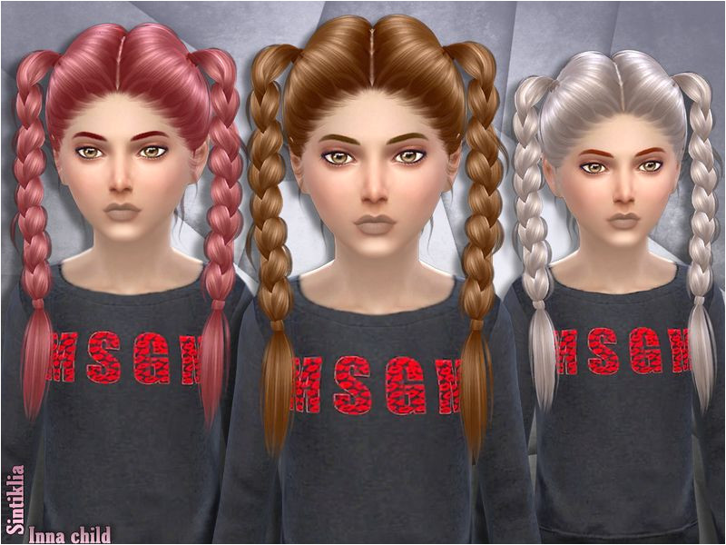 Child version of Inna hair braids Found in TSR Category Sims 4 Female Hairstyles