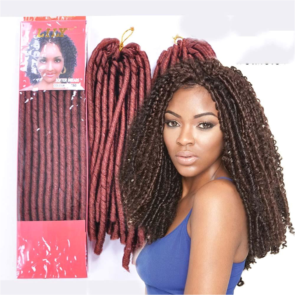2019 KanekalonSoft Dread Locs Synthetic Hair New Packing 3 Pack Soft Dread Faux Locs Colored Crochet Braids Hairstyles African Synthetic Hair Bra From