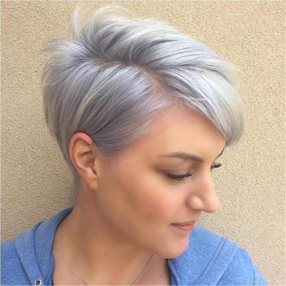 Pastel Purple Side Parted Pixie Pixies Medium Hairstyles Haircuts For