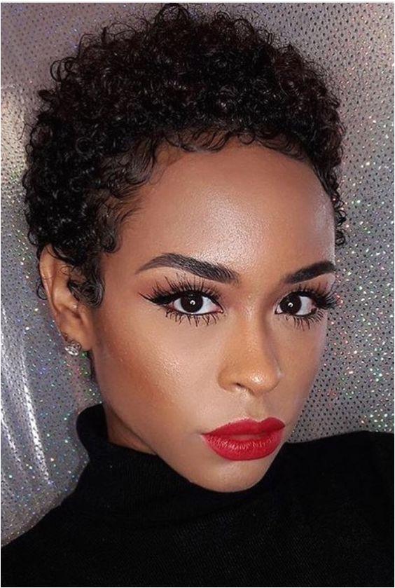 Teeny Weeny Afro TWA Red Lips Natural Hair Hair Style Short Hair Make Up Black Girl