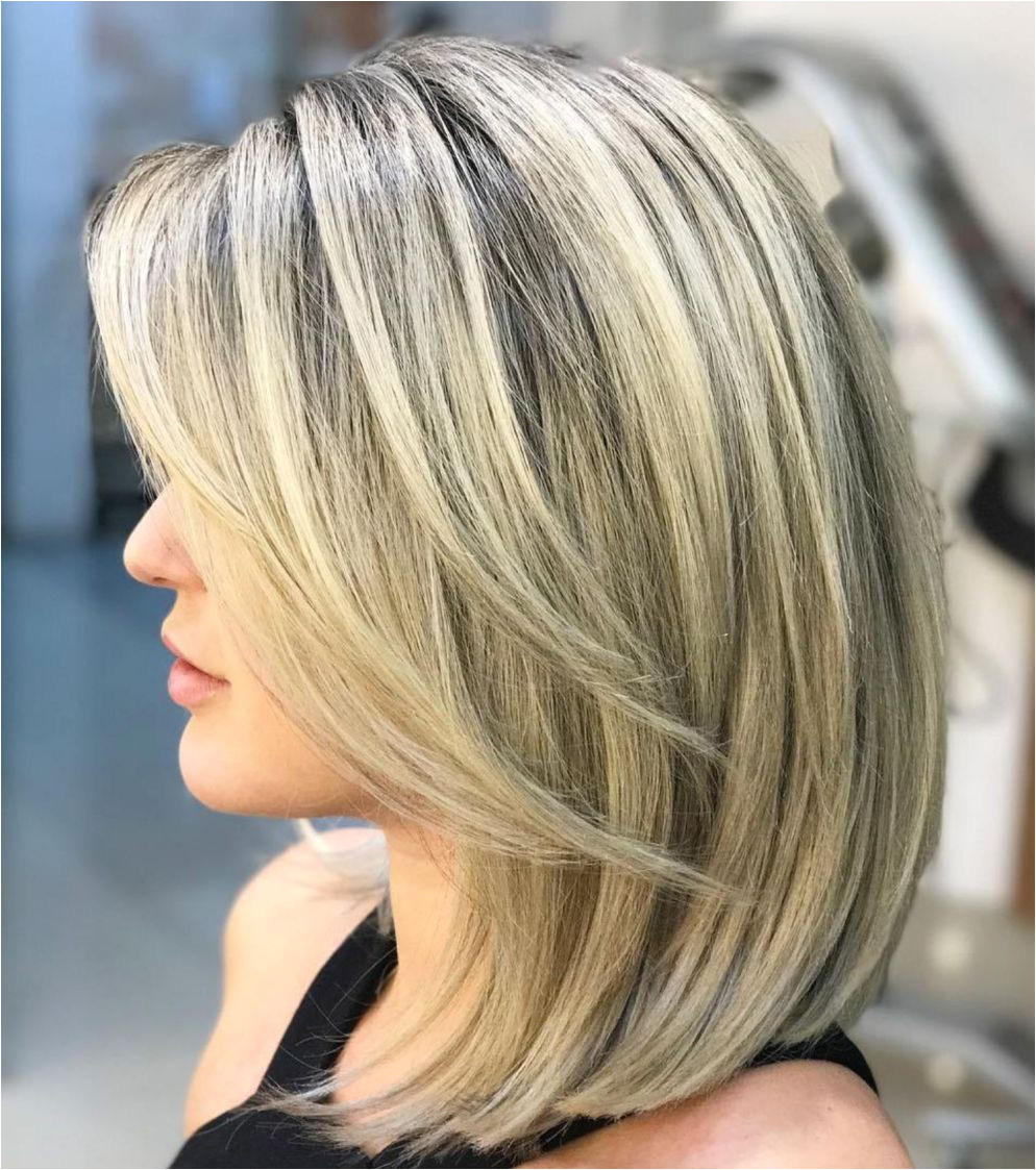 Blonde Lob With V Cut Layers