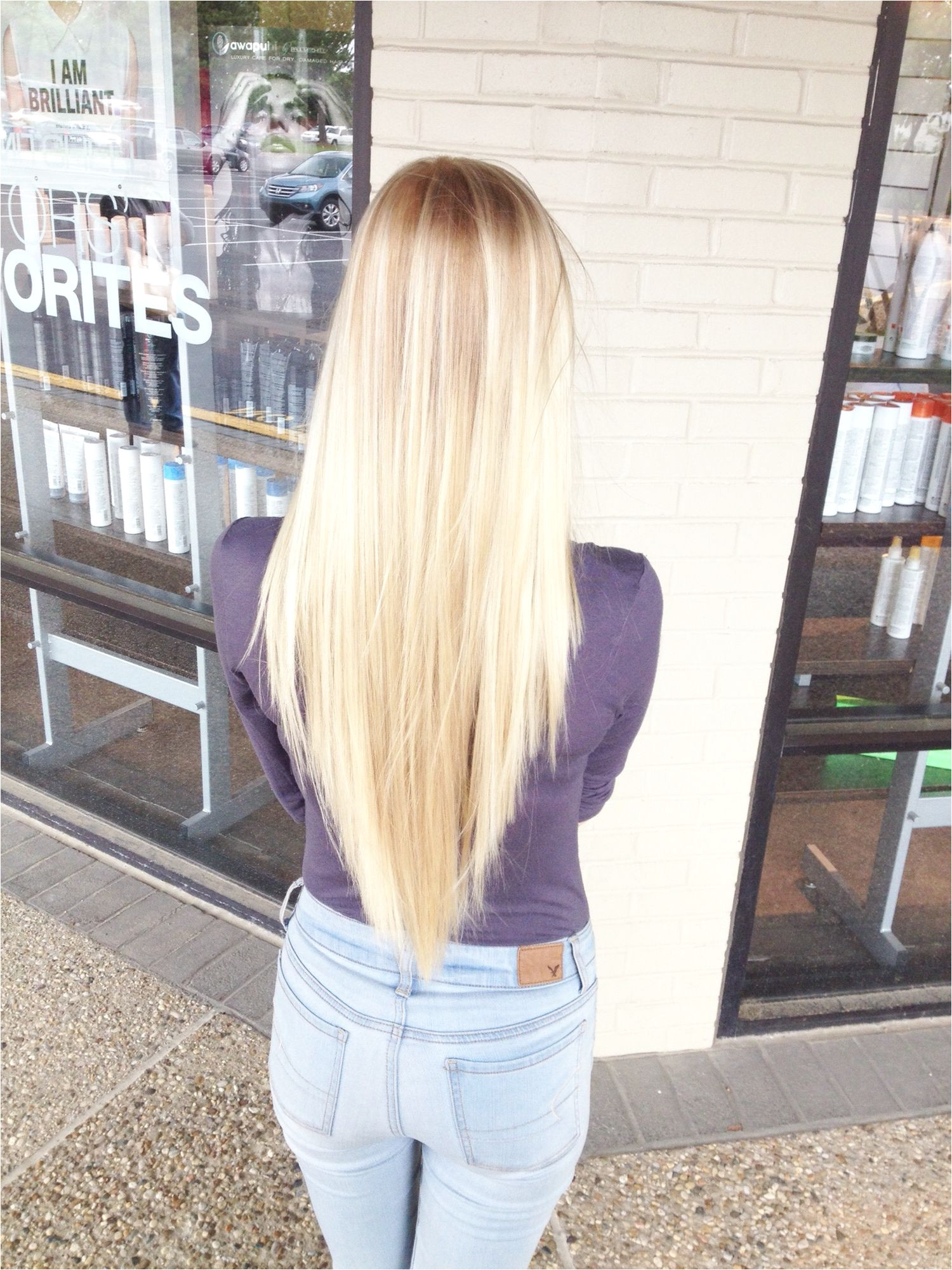 Long layered V Cut Reverse layers Platinum Blonde Instagram janieeee