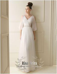 line Shop 2013 V neck vintage wedding dress belt flower long sleeve wedding dress simple elegant wedding dress 888