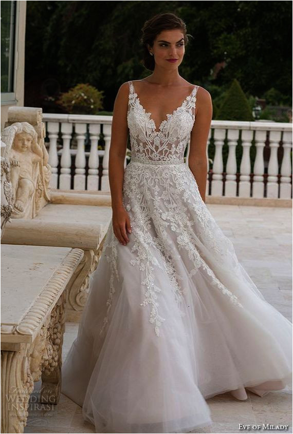eve of milady boutique spring 2016 bridal v neckline lace embroidered bodice beautiful a line wedding dress