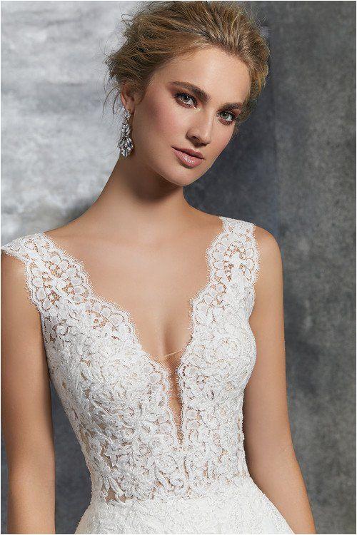 Lace wedding dress v neckline wedding dress Style 8208 by Morilee by Madeline Gardner for more wedding dress inspiration
