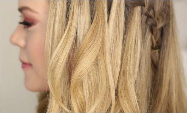 Waterfall Hairstyle Tutorial Waterfall Braid Half Updo Hairstyles