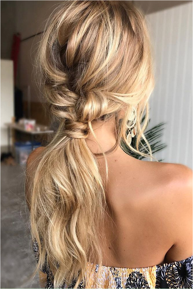 wedding hairstyles for long hair low straight messy ponytail on blonde hair emmachenartistry