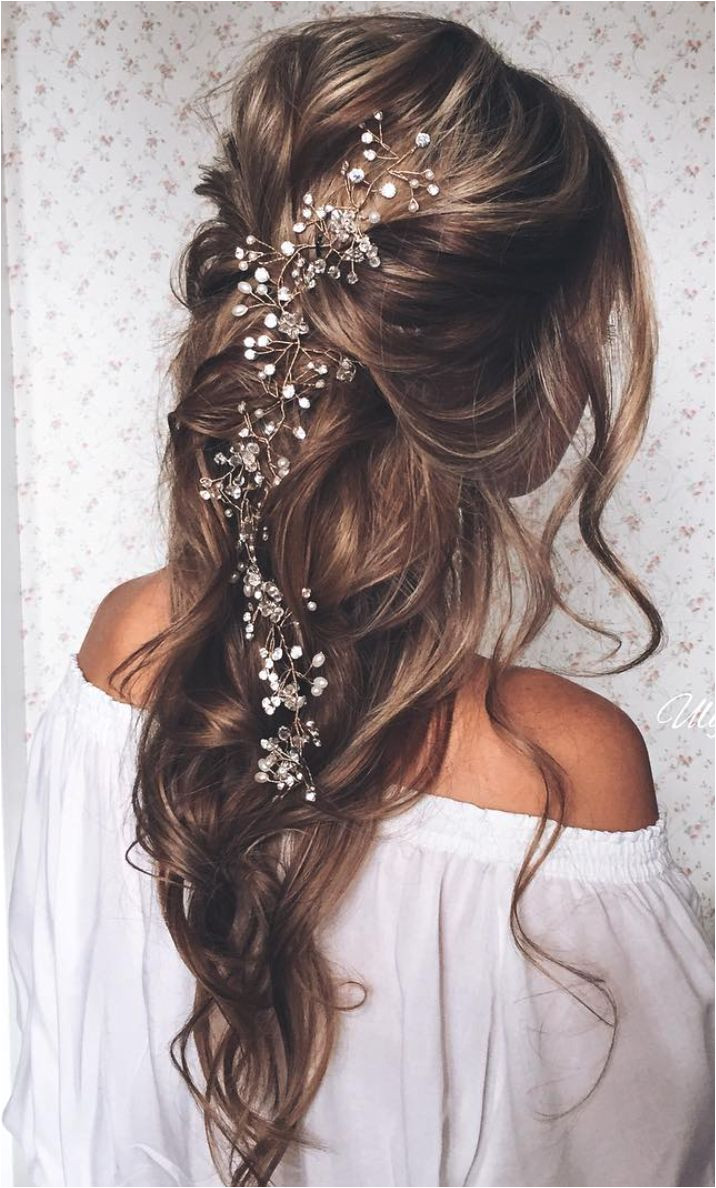 pulled back loose waves lovely long wedding hairstyle