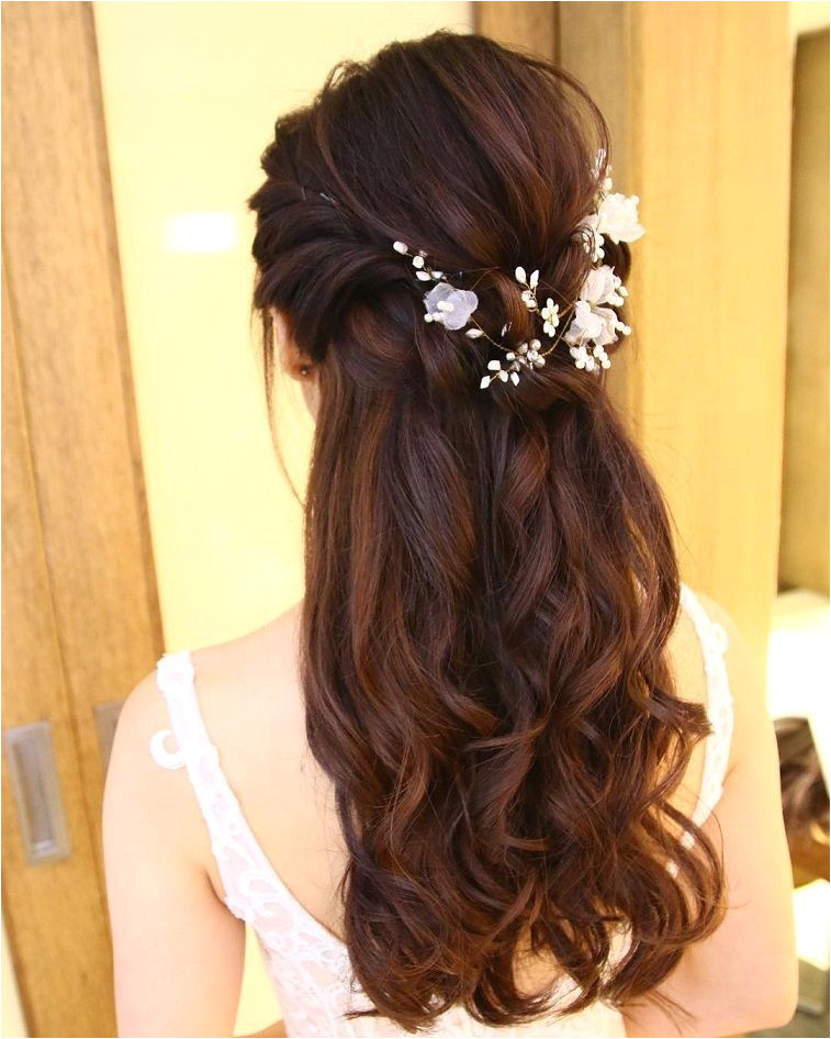 Pretty Half up half down hairstyles partial updo wedding hairstyle is a great options for the modern bride from flowy boho and clean contemporary half