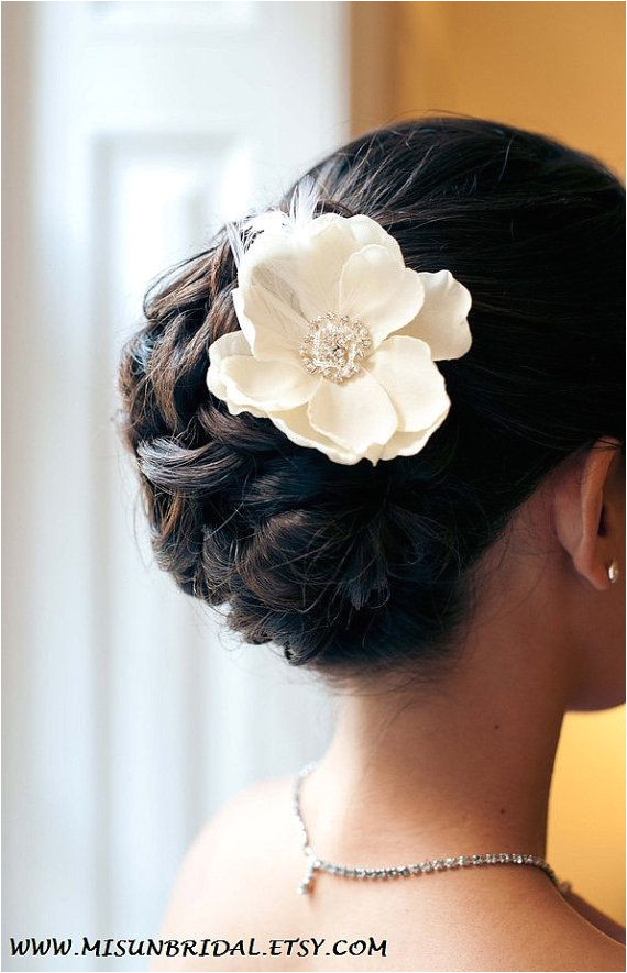 Petite Ivory Flower with rhinestone and feathers Bridal Hair Updo Bridal Makeup Wedding Hair