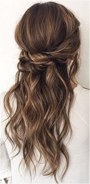 Twisted Half Up Twisted Half Up Bridesmaids Hairstyles Wavy Wedding