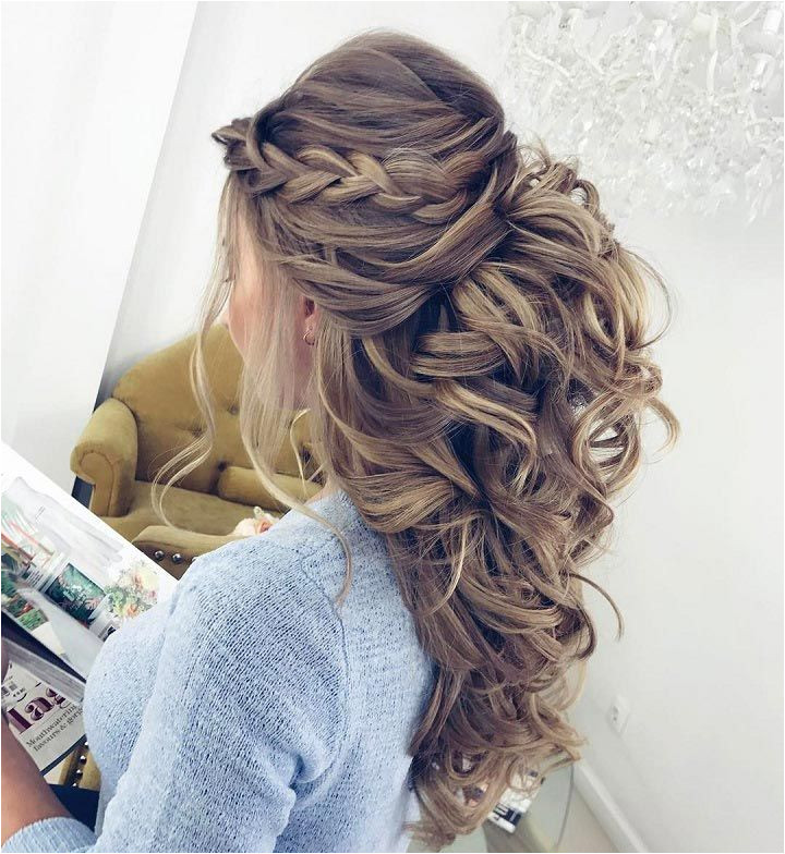 Half up hairstyle with side braid and curls womentriangle hairstyle halfup halfdown
