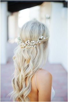 braid half up half down wedding hairstyles decorated with baby s breath