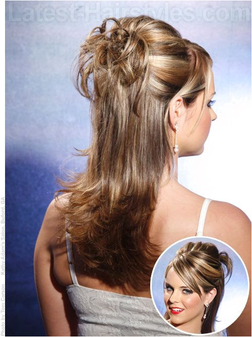 Long layeref od hairstyle in a half updo for prom for Sarena