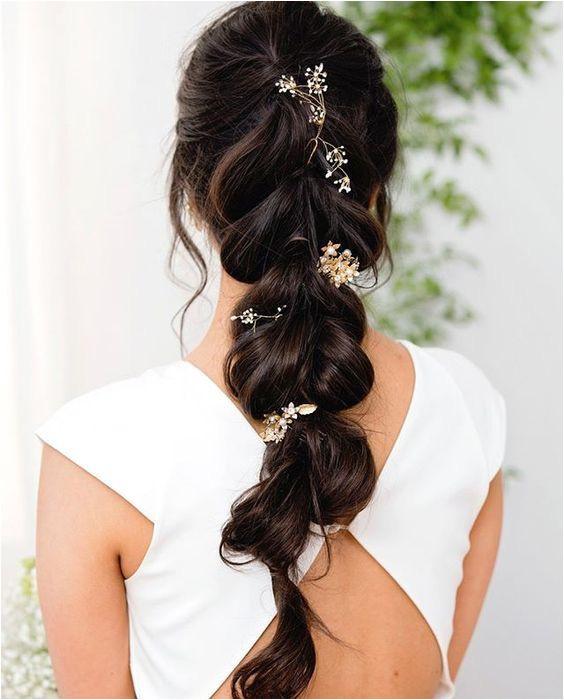 Rustic Vintage DIY Half up Half Down Wedding Hairstyle For Long Hair with Mermaidbraid and Flowers