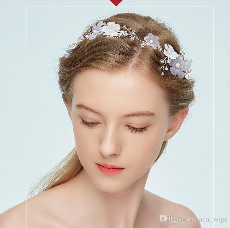 Bridal Wedding Hair AccessorY Update Blue Hairband Handmade Hair Clip White Silk Flower With Pearl Head Bands New Design Butterfly Hair Accessories